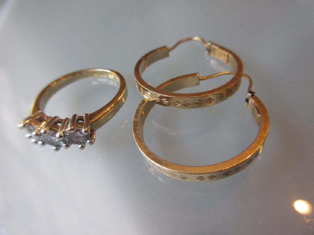 Pair of 9ct yellow gold hollow hoop earrings with