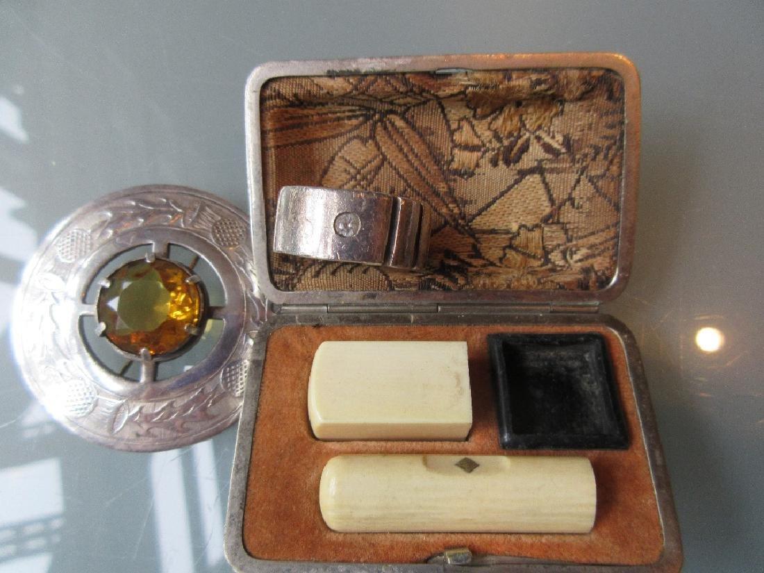 Circular Scottish citrine set brooch, silver gent's