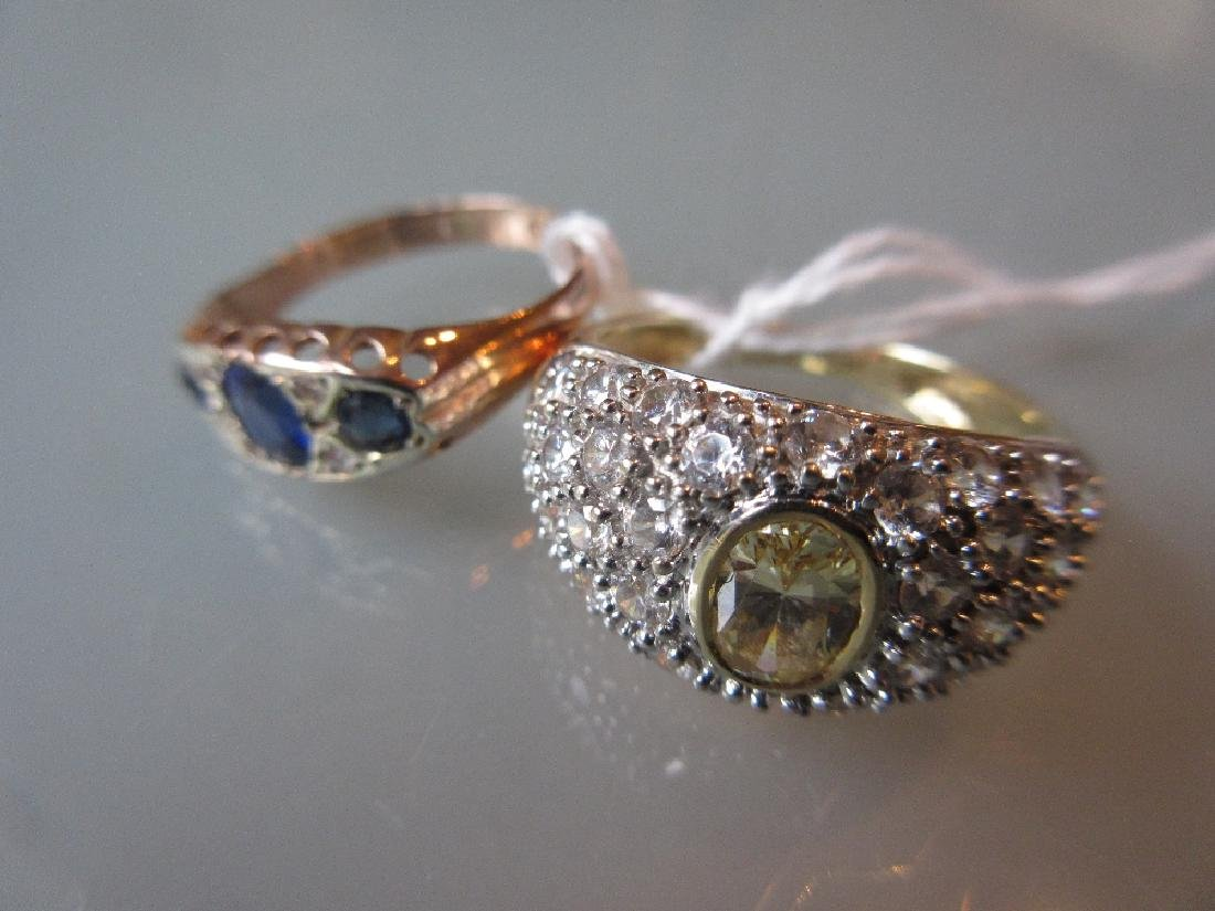 9ct Gold stone set dress ring together with a 14ct gold