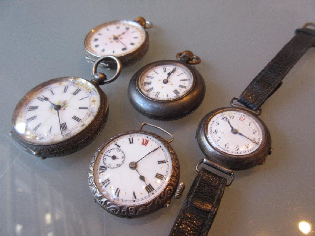Three Continental silver fob watches, silver cased