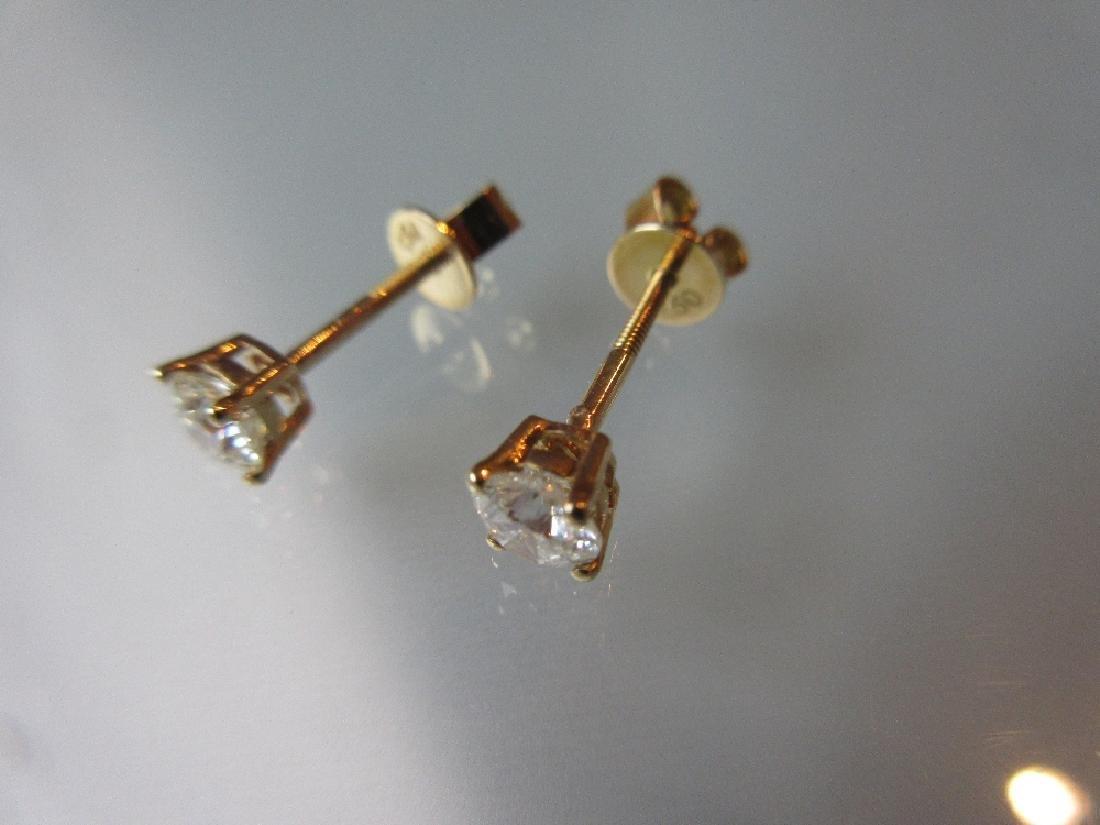 Pair of 18ct yellow gold screw back diamond stud