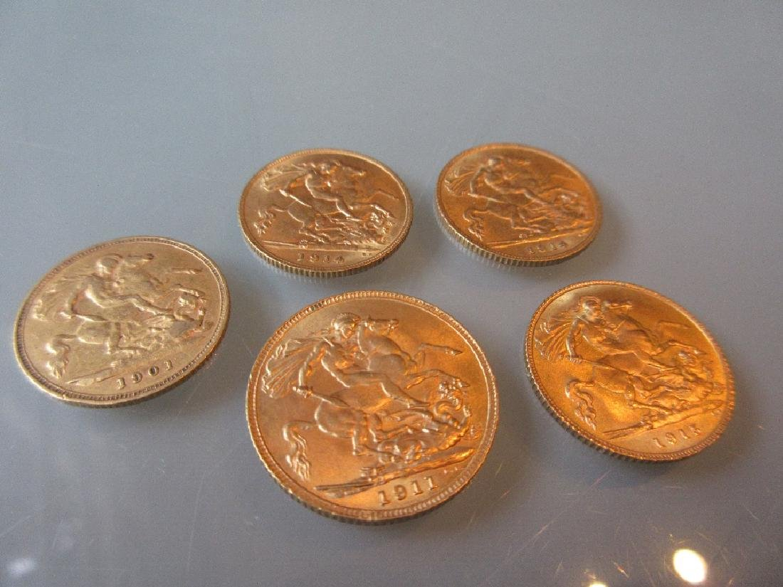 1911 Gold sovereign together with four various half
