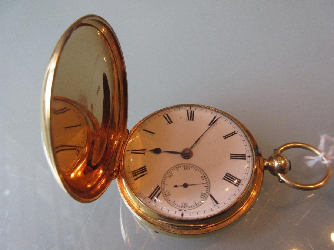 18ct Gold cased full hunter key wind fuseé pocket watch