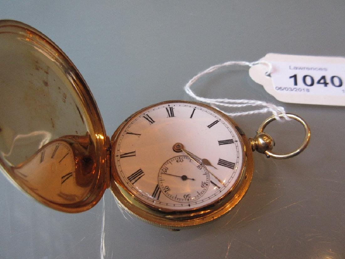 English 18ct gold cased key wind hunter pocket watch by