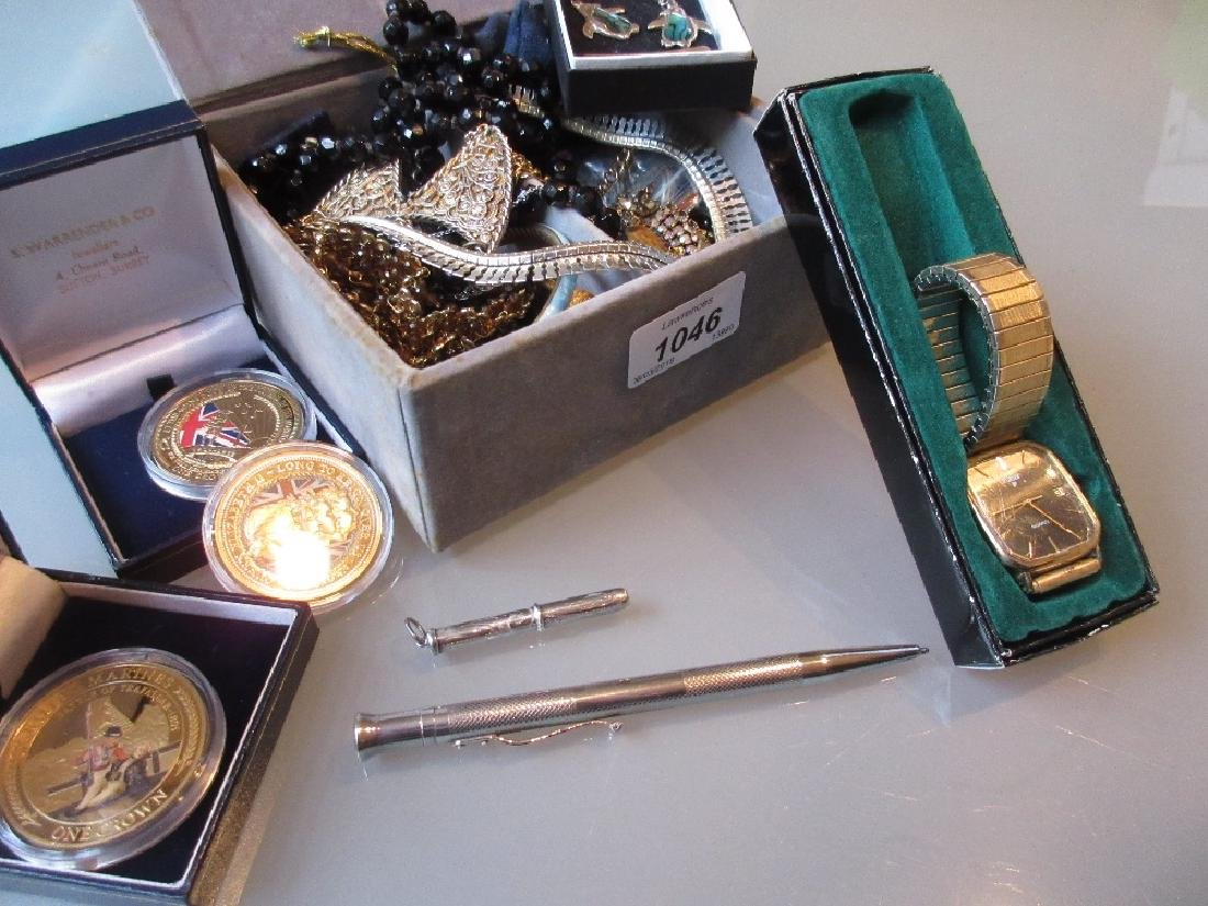 Chanel box containing various costume jewellery,