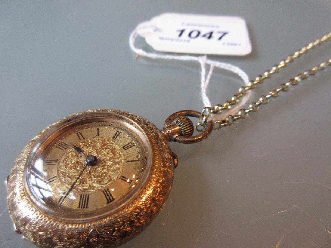 14ct Yellow gold engraved pocket watch with gilt dial