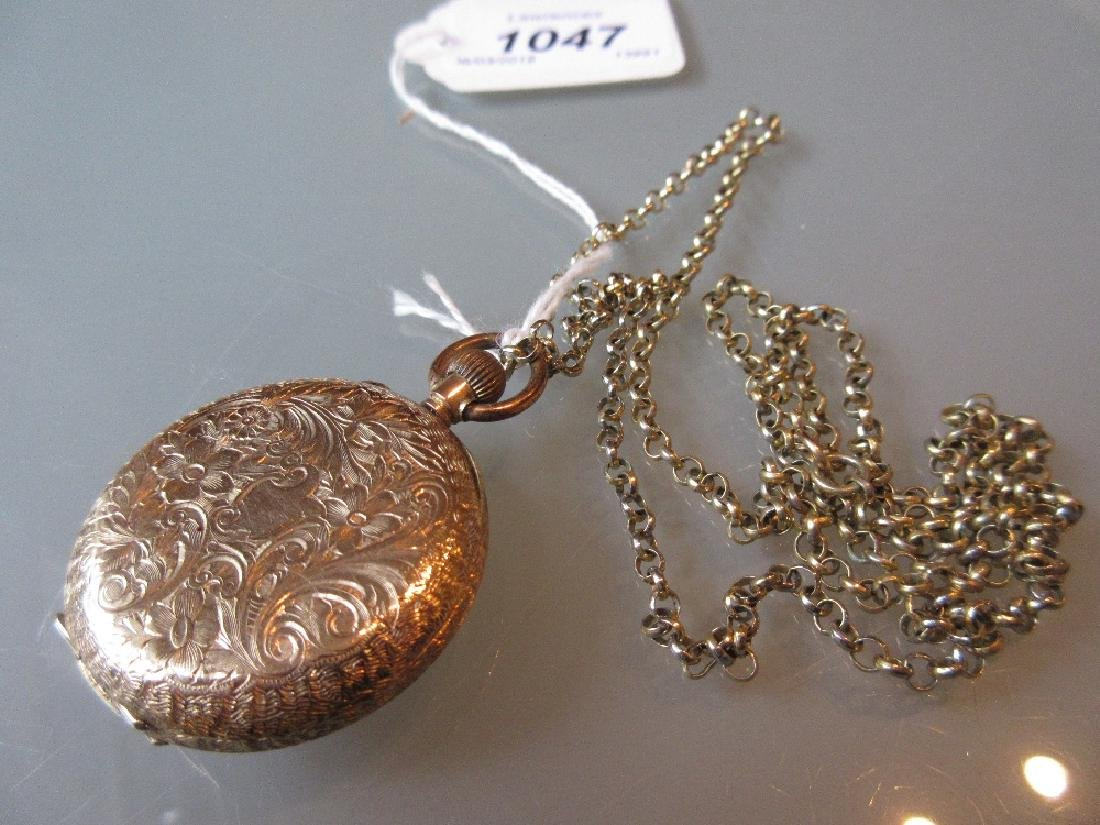 14ct Yellow gold engraved pocket watch with gilt dial - 2