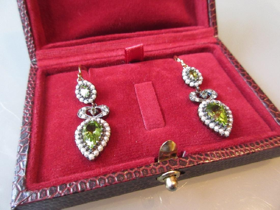 Pair of diamond, seed pearl and peridot drop earrings