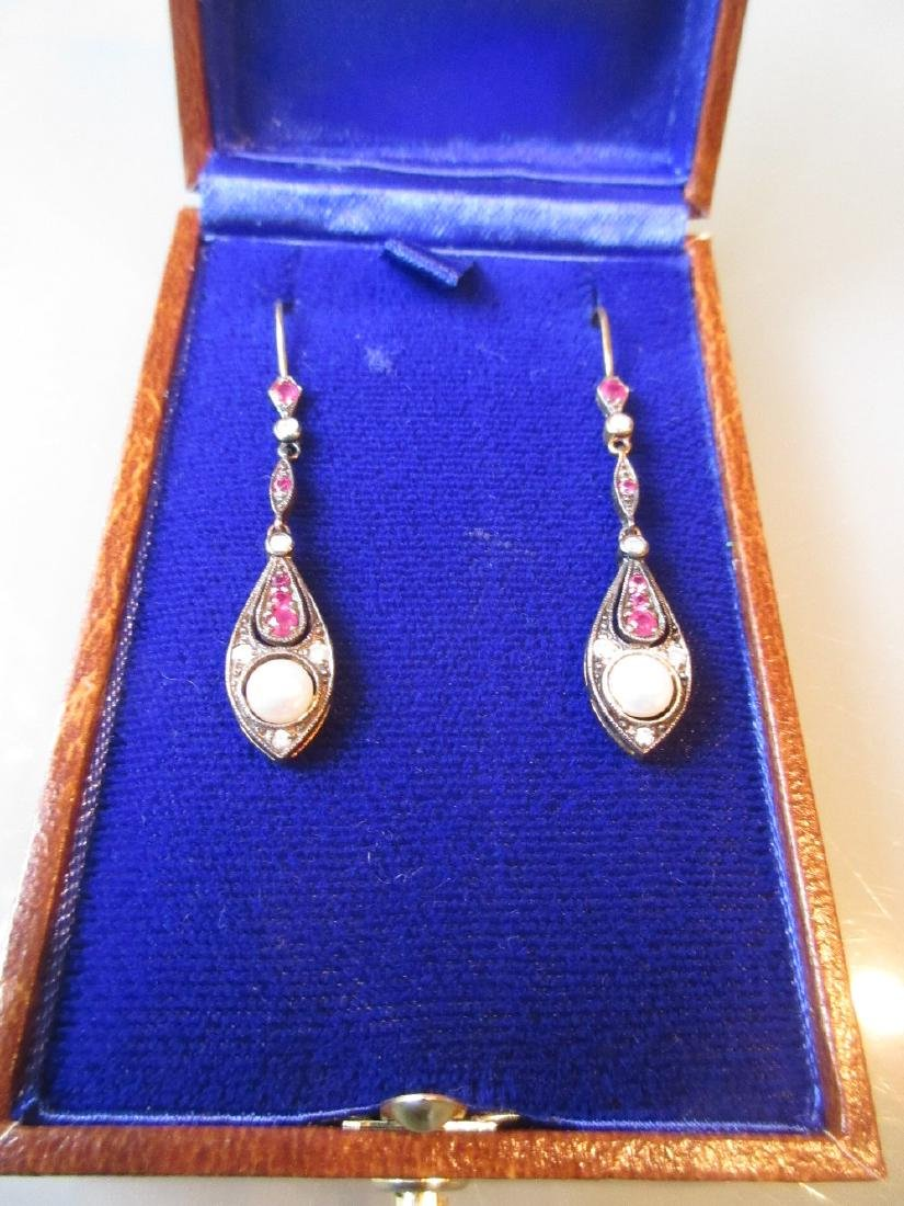 Pair of pearl, diamond and ruby drop earrings