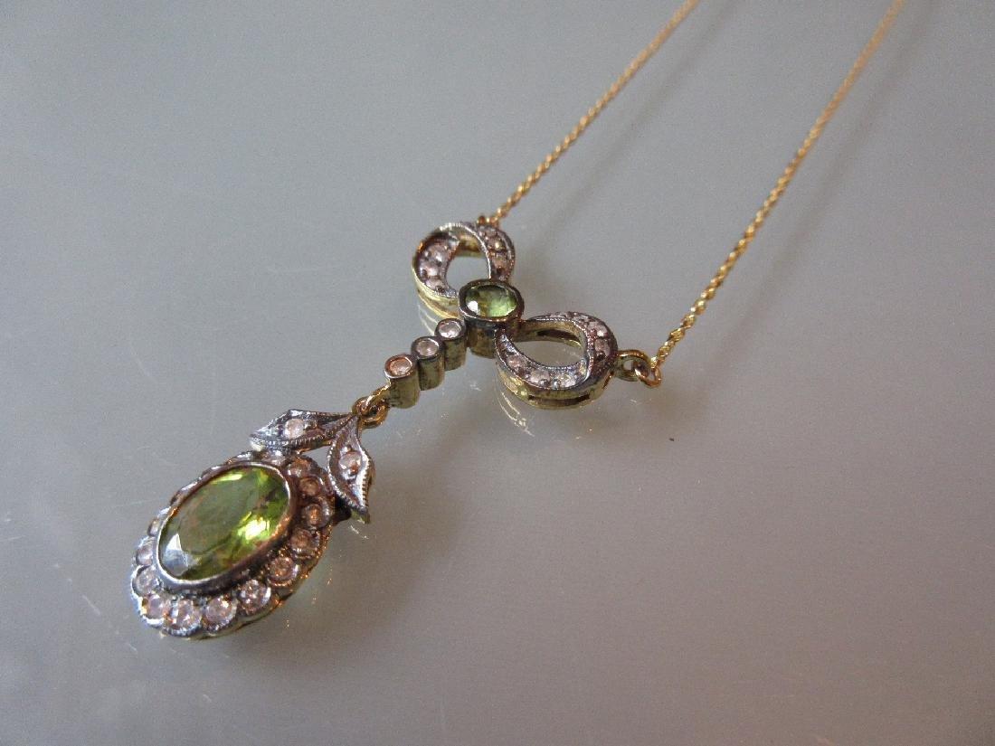 Pearl, diamond and peridot necklace
