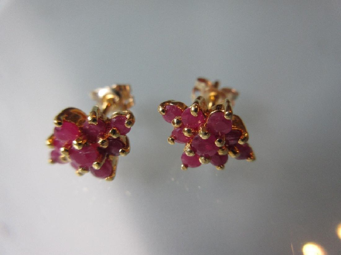 Pair of ruby cluster stud earrings