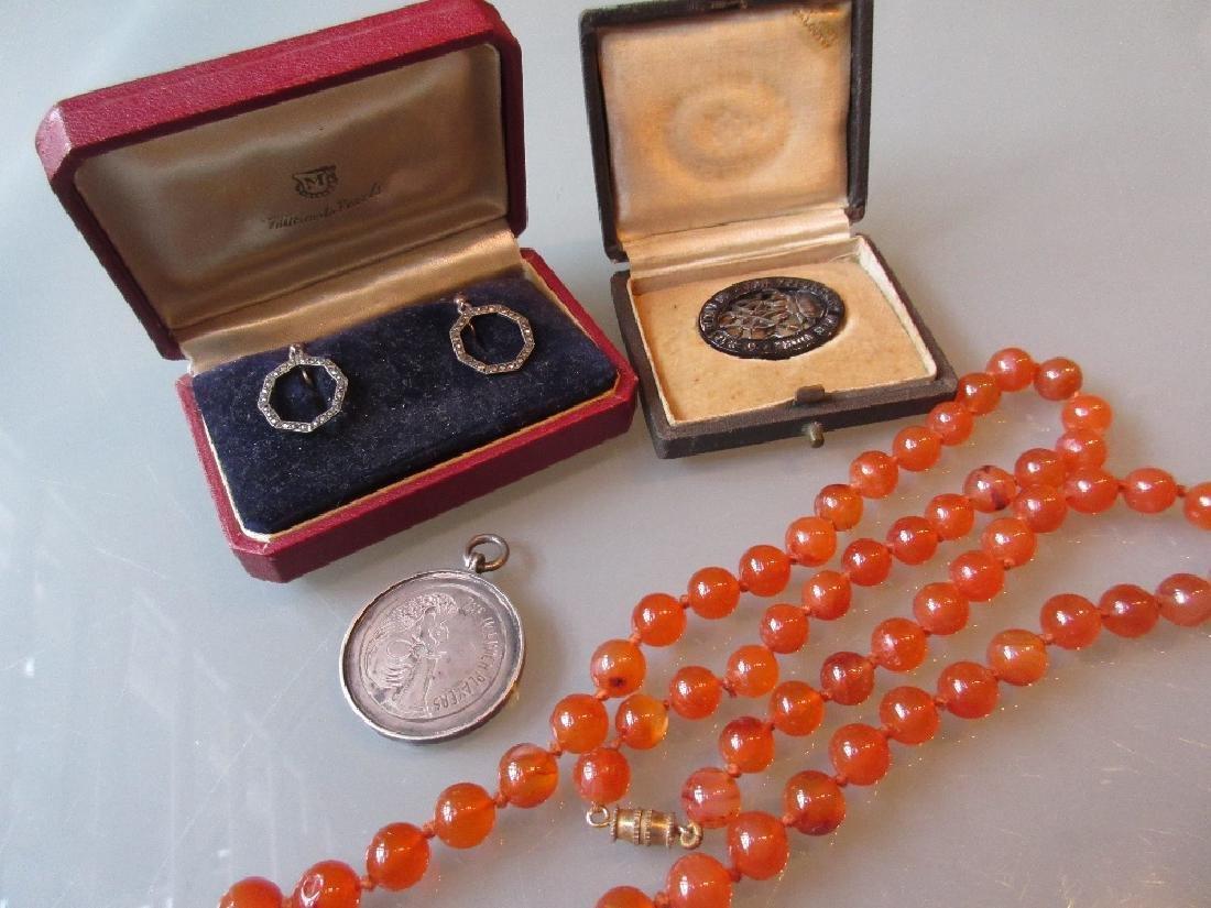 Pair of marcasite drop earrings, an agate bead