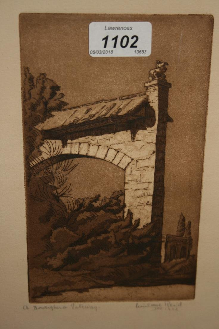Small framed etching, church in the wood, Hollington,