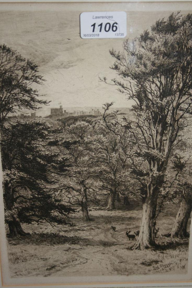 Fred Slocombe, small framed etching, view of Windsor