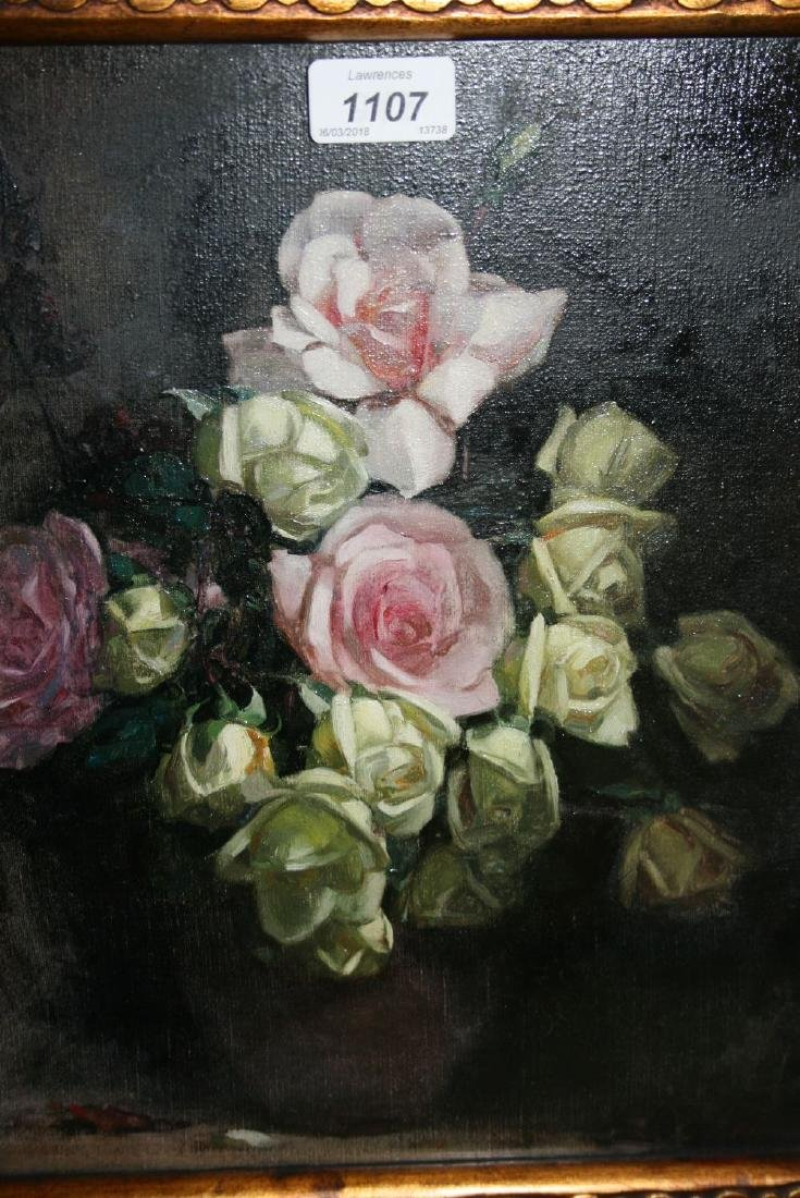 William J. Wood, oil on canvas, still life of roses in