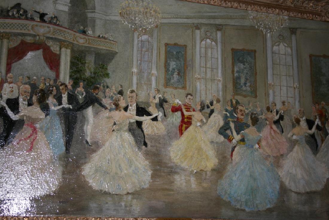 August Albo, oil on canvas ' Strauss Waltz ', figures