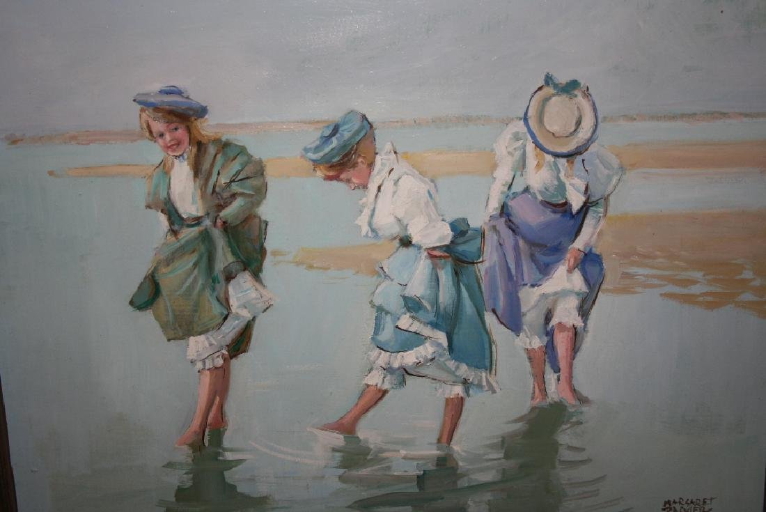 Margaret Palmer, modern oil on board, girls in