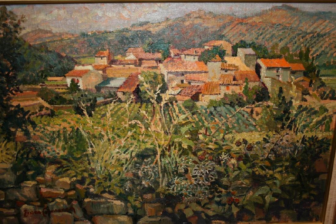 Ewan Cameron, oil on canvas laid down on board, village