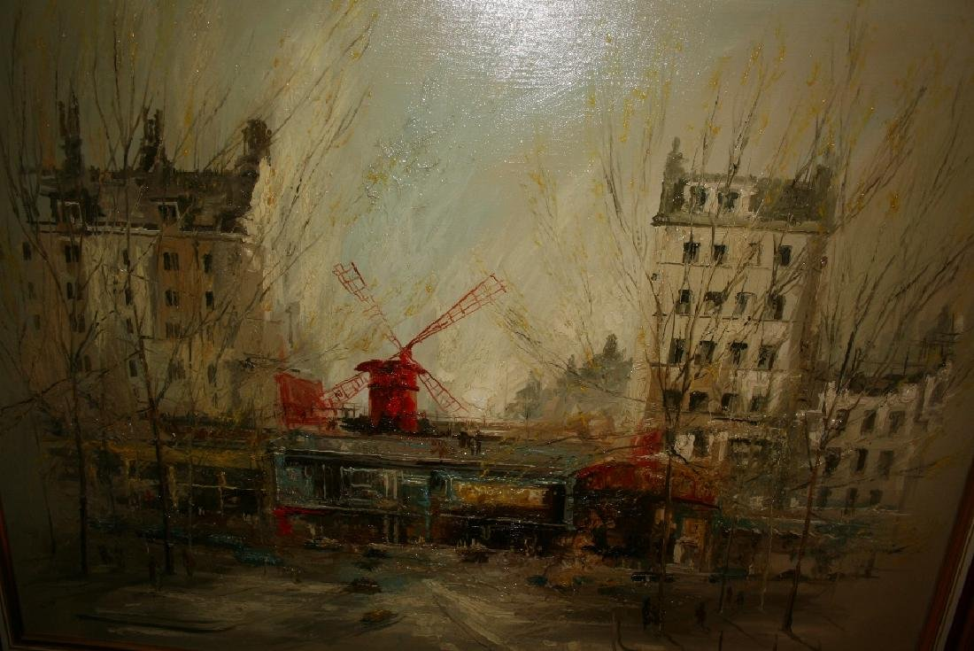 Ben Maile, oil on canvas, view of the Moulin Rouge,