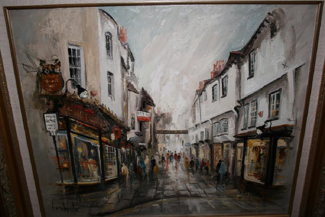 Ben Maile, oil on canvas, street scene, York, signed,