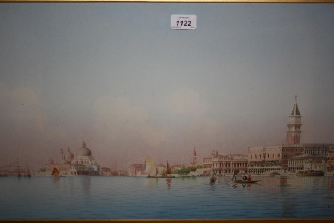 Umberto Ongania, watercolour, view of Venice from the