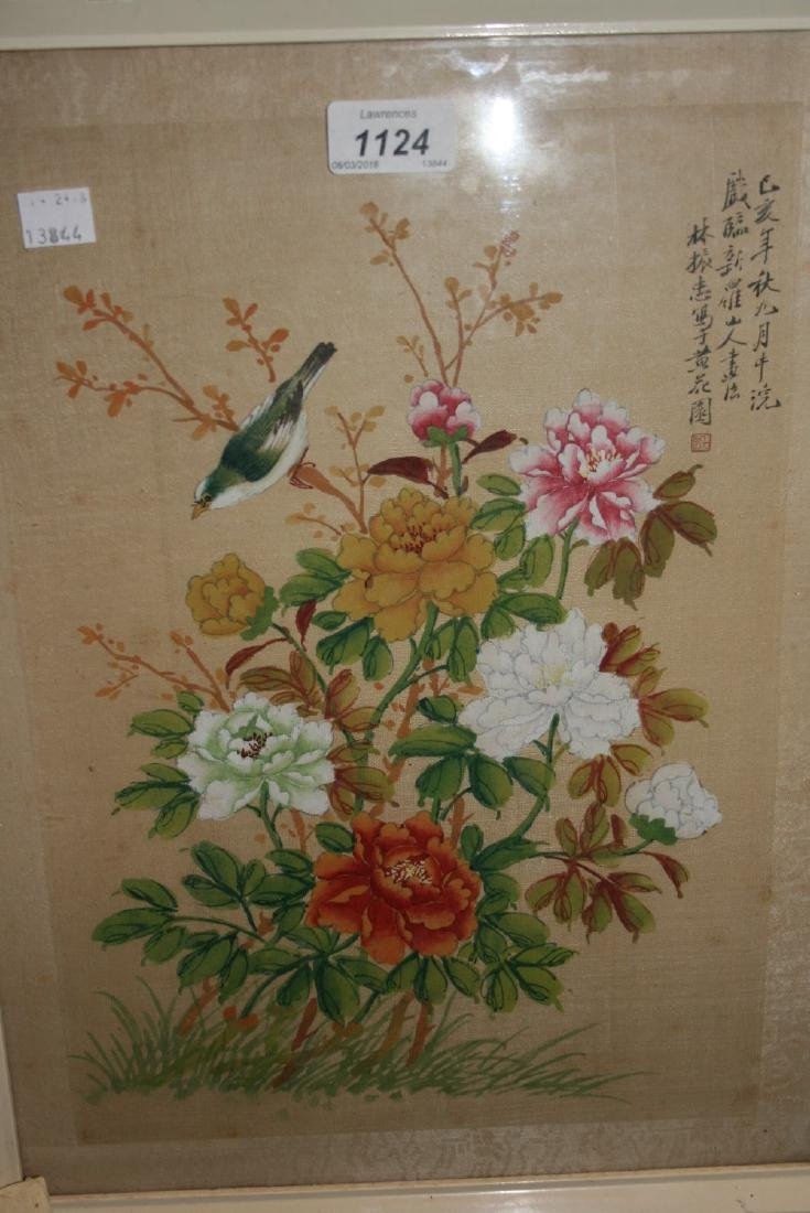 Chinese watercolour on silk, bird and flowers with