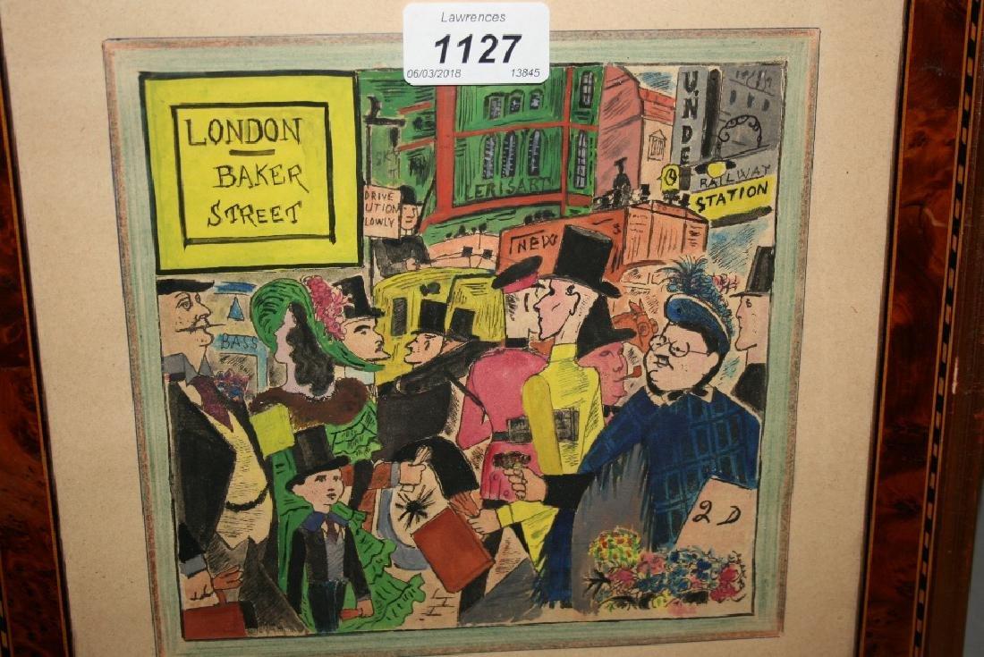 Mixed media, study of figures, entitled ' London, Baker