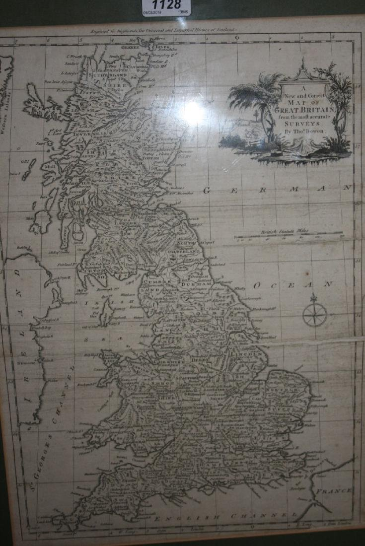 Framed antique black and white '  New and Correct Map
