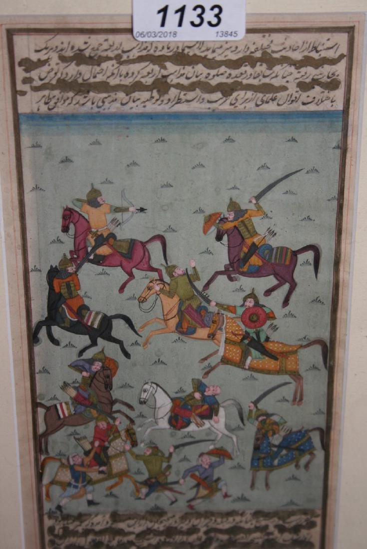 Moghul school, mixed media on paper, battle scene with