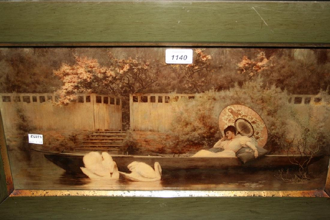 Large cristoleum picture, girl asleep in a punt with
