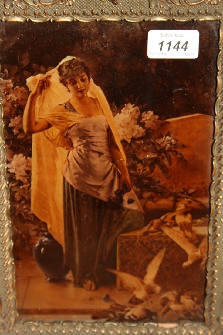 Cristoleum picture, classical maiden feeding doves,