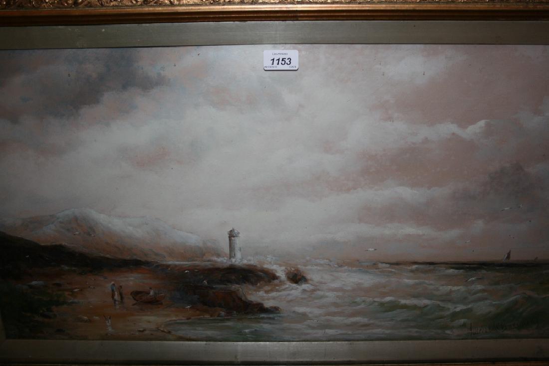 Gustave Debreanski, mixed media, coastal scene with