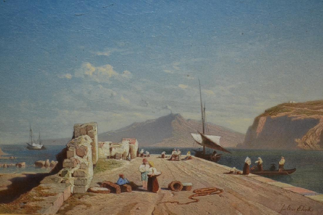 Julius Ehrke, oil on canvas, Continental quayside scene
