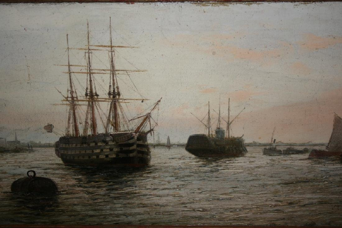 Edwin Fletcher, oil on canvas, harbour scene with a