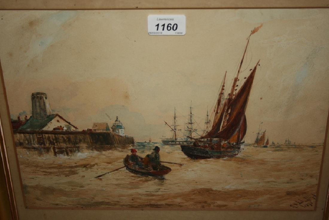 Robert Malcolm Lloyd, watercolour shipping in an