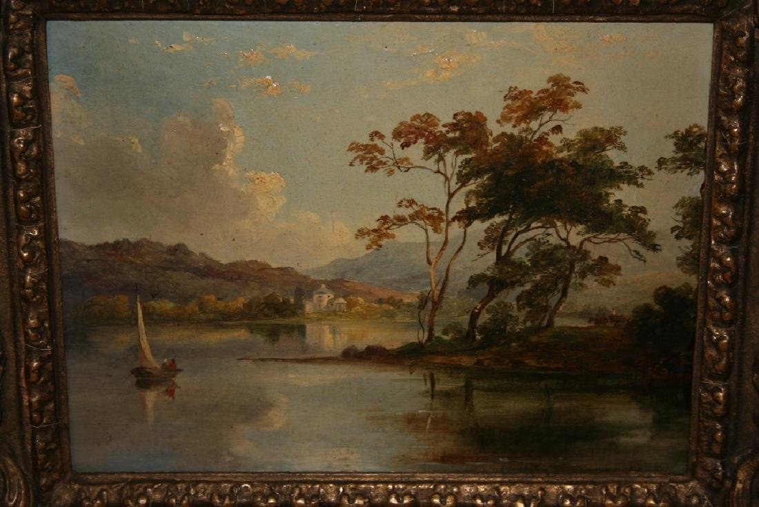 19th Century oil on board, lake scene with two figures