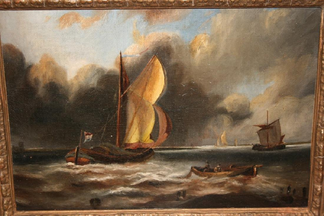 19th Century oil on canvas, marinescape with shipping