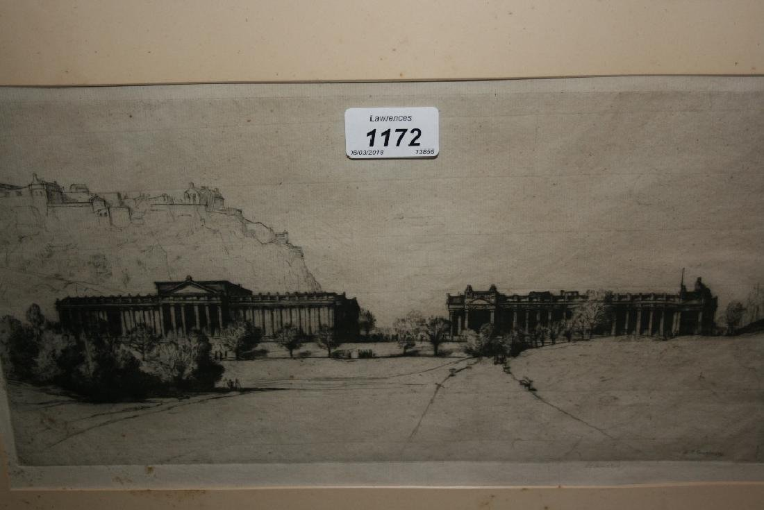 David Young Cameron, signed etching, view of the R.S.A,
