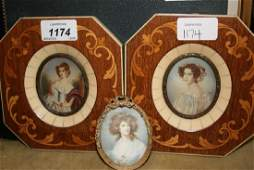 Pair of early 20th Century portrait miniatures of
