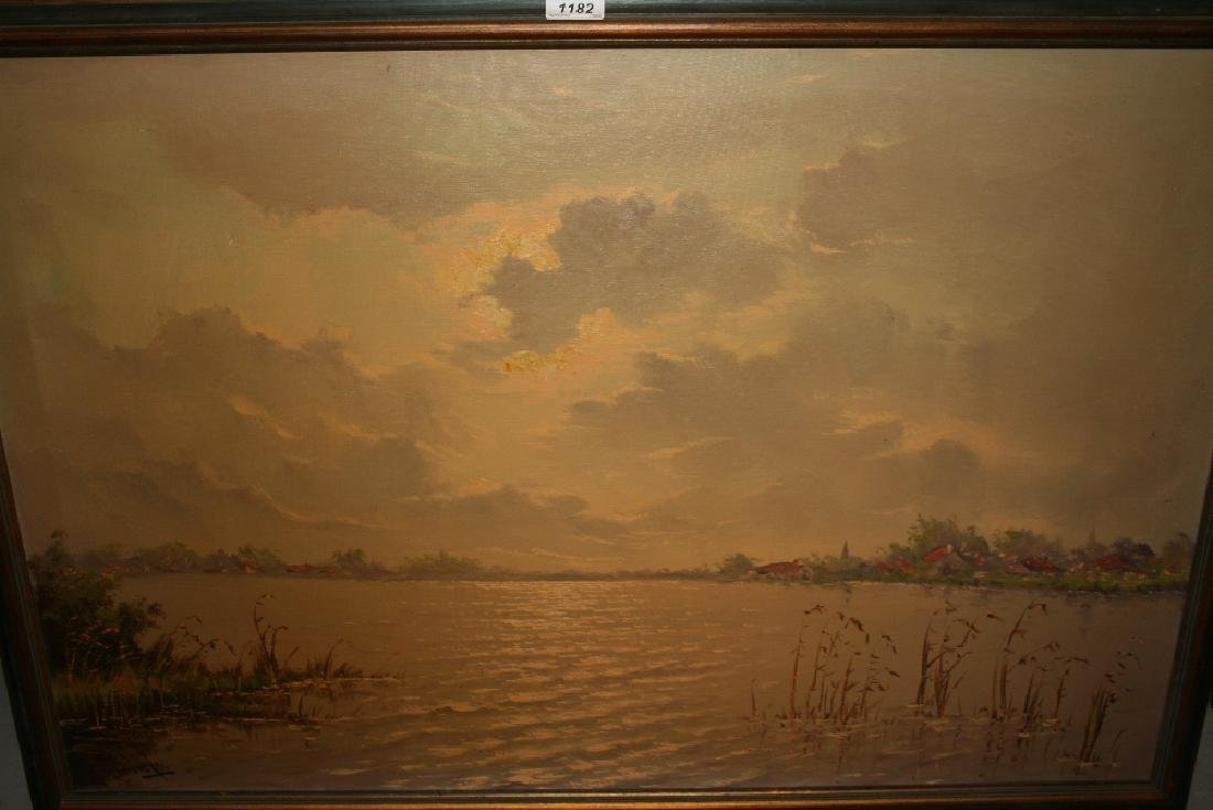 Mid 20th Century Dutch school ?, oil on canvas, river