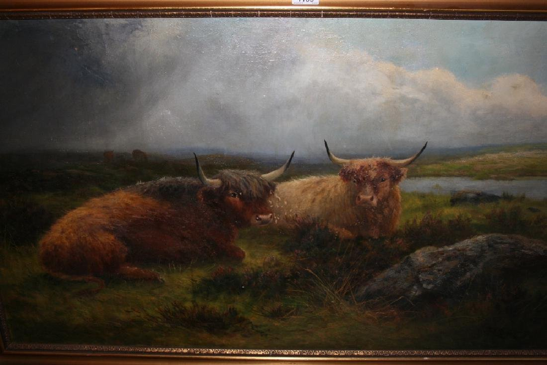 Daniel Sherrin, oil on canvas, cattle resting in a