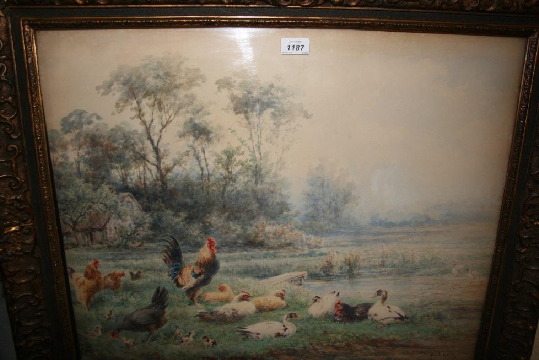 Paul Alfred Colin, watercolour, study of poultry beside