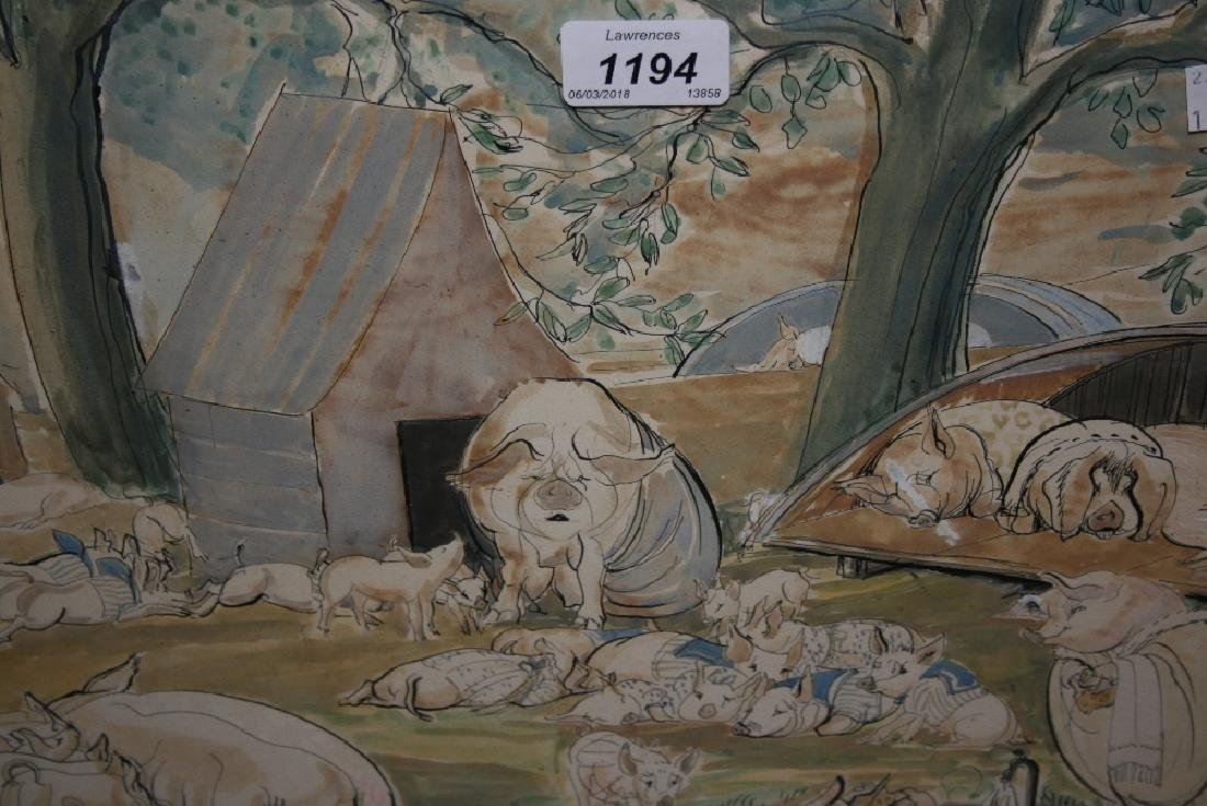 Ink and watercolour, study of pigs in a piggery,