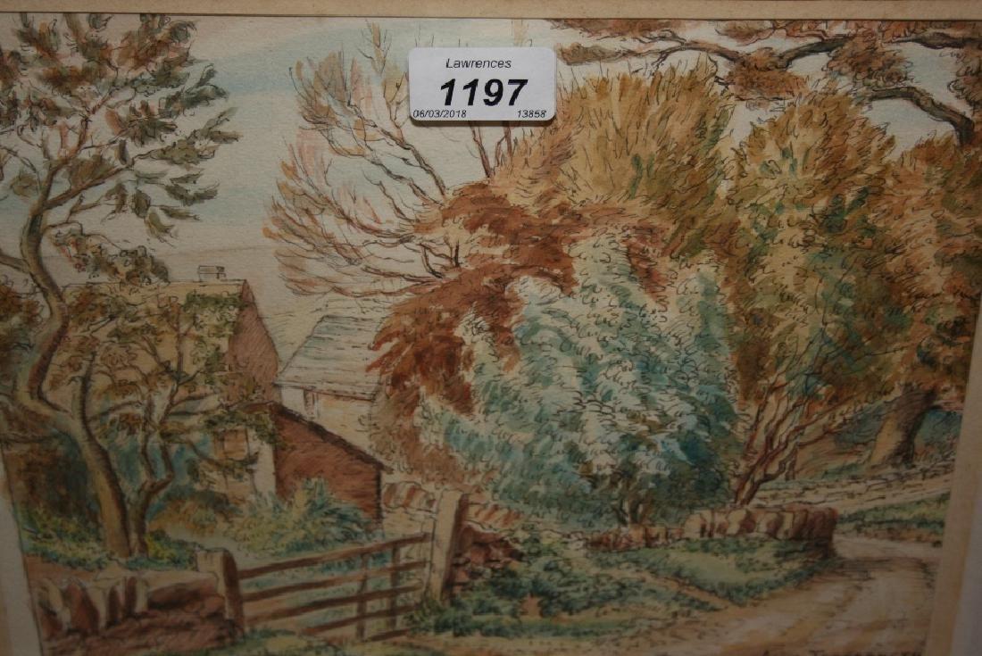 Anita Tregarneth, ink and watercolour, a view of farm