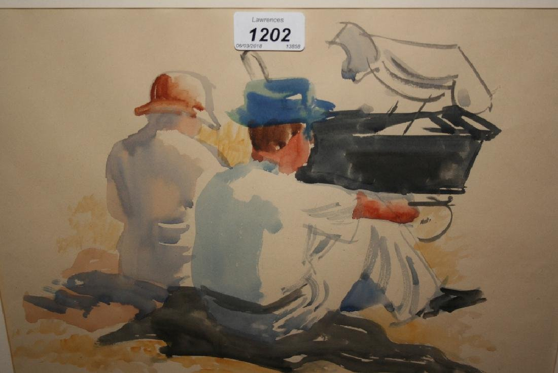 Eric Taylor, watercolour, seated figures with a pram,
