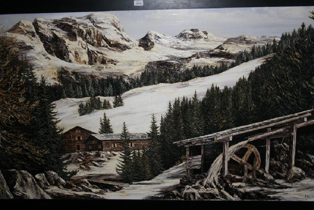 Large mid 20th Century oil painting on board, an Alpine