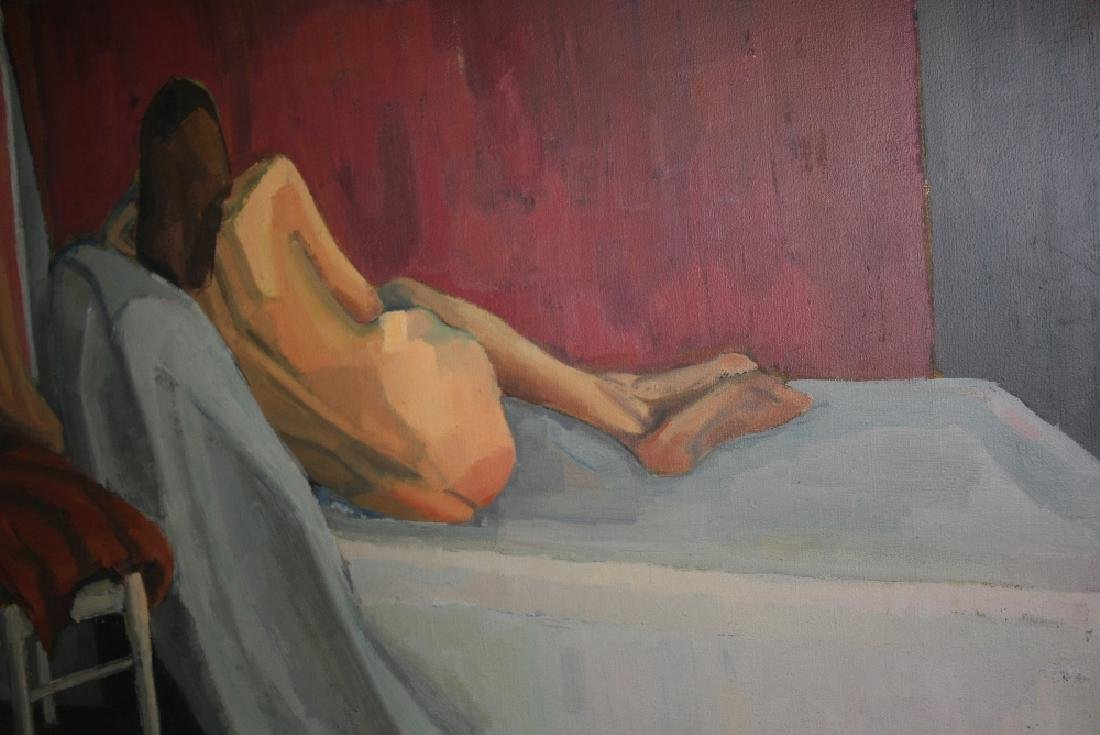 Two unframed studio oil on canvas, nude studies of