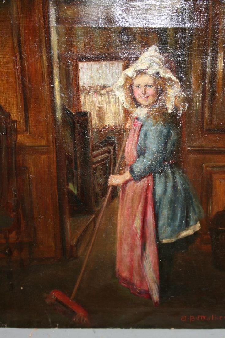 A.B. Walker, 19th Century oil on canvas, young maid in