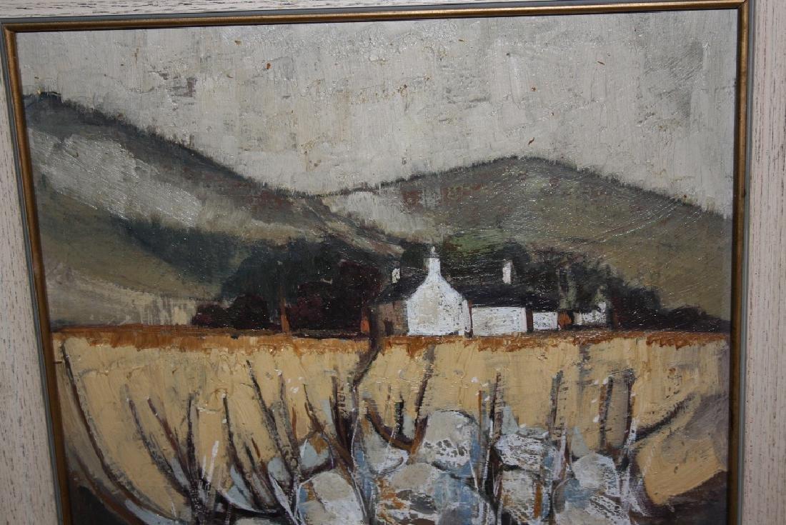 Irish school oil on board, farmhouse in a landscape,