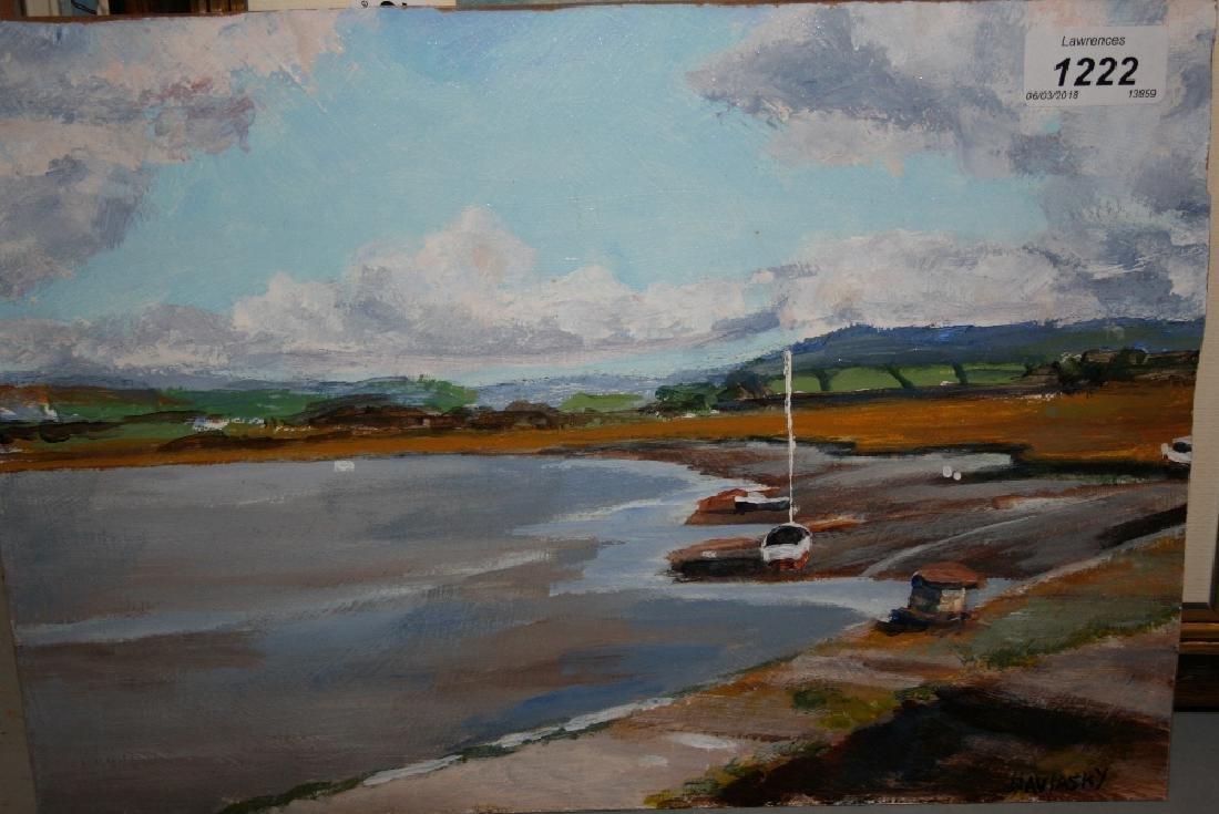 Novinsky, oil on board, coastal scene with moored boat,